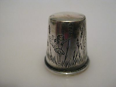Unusual SILVER Fairy Butterfly Engraved Thimble