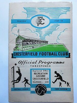 Chesterfield v Tranmere Rovers 59/60 3rd Division 21/9/59 1959 1960