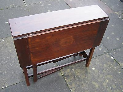 Antique Solid Oak Small Drop Leaf Folding Occasional Period Side Card Table