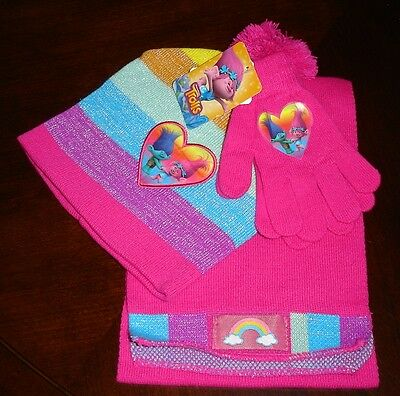DreamWorks Trolls Poppy & Branch 3pc Cold Weather Set - Fits Size 4-16 - NWT!