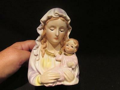 Relpo #R-7075 Painted Vintage Madonna and Baby Head Vase with Giftcraft Sticker