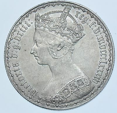 1884 Gothic Florin, British Silver Coin From Victoria Au