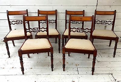 6 x Regency Style Polished Mahogany Ring Turned Farmhouse Inlaid Dining Chairs