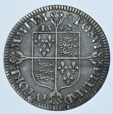 ELIZABETH I SIXPENCE 1562 mm. STAR BRITISH SILVER HAMMERED COIN [MILLED ISSUE]