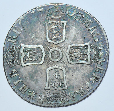 1703 Vigo Sixpence British Silver Coin From Anne Gvf