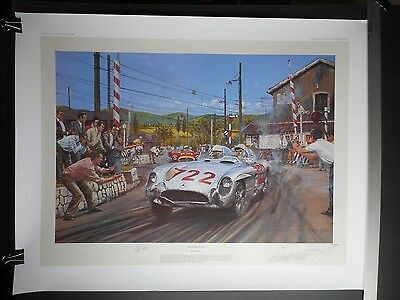 SIGNED PRINT Nicholas Watts MILLE MIGLIA 1955 Mercedes Benz 300 Moss Jenkinson