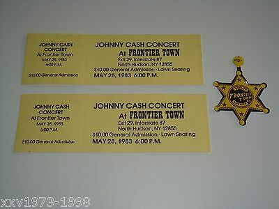 Johnny Cash 2 Vintage Unused Concert Tickets Sheriff Badge Pin Frontier Town Usa