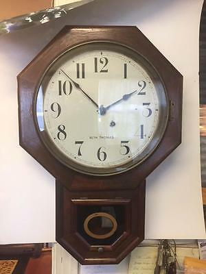 Antique Seth Thomas school clock  . Wood case Time only .Working