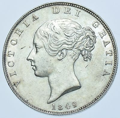 Rare 1849 Halfcrown, Large Date, British Silver Coin From Victoria Ef