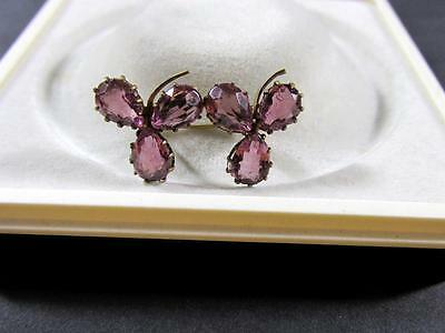 Antique Victorian Amethyst Stones Double Three Clover Leaves Lace Pin Brooch