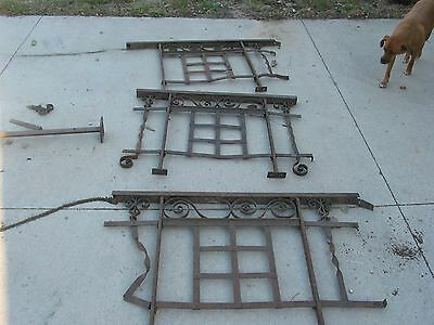 3 Antique Railing Wrought Iron Panels Heavy Steel w/ Twisted Hand Rail  AMAZING