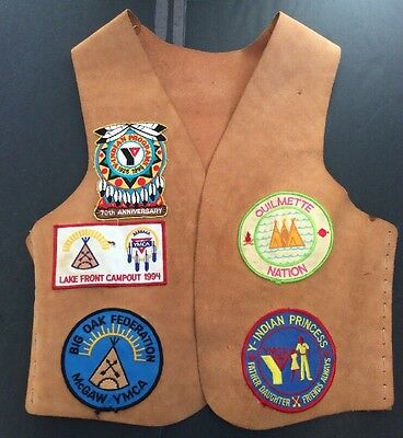 YMCA Vtg Indian Guides Vest 90s 15 Patches Illinois Nation Princess Girl Youth