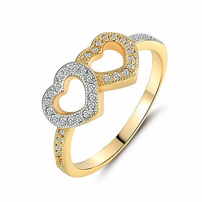 Double hearts shape round Topaz with white Topaz accents Engagement ring Sz6-9