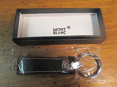 Nos Montblanc Signature Stainless Steel & Black Leather Key Ring/fob