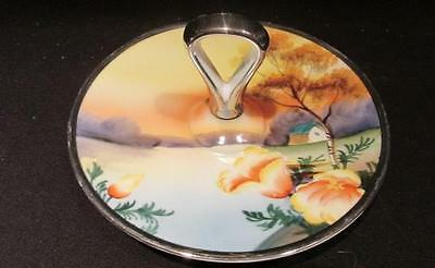 """Noritake Vintage Hand Painted 5"""" Silver Edged Tidbit Tray with Handle Red Stamp"""