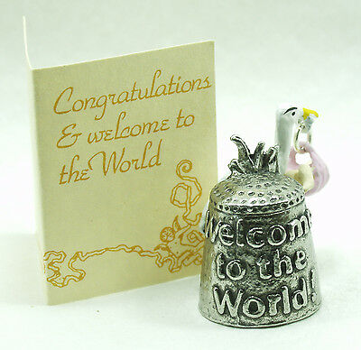 Pewter thimble new born baby girl delivered by  stork