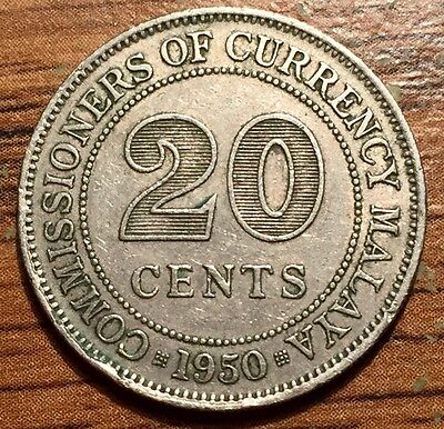 1950 Malaya and British Borneo 20 Cents Coin - About UNC+ Condition