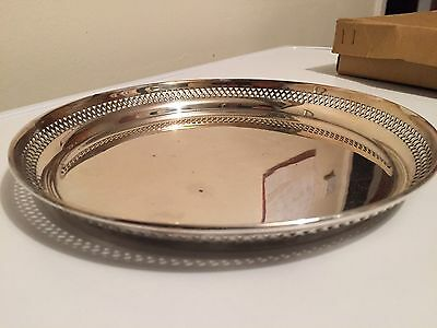 Vintage Silver Plate Round Drinks Serving Gallery Tray Boxed JAMES CARR ABERDEEN