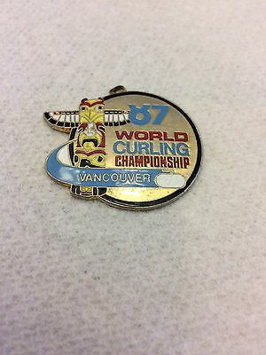Curling Pin World Curling Championship 1987 Vancouver To Be Used With Neck Chain