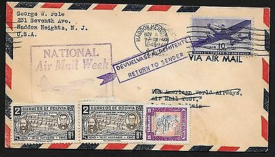 Pan American Test Flight Cover, US & Bolivia Stamps, Air Mail Week Cachet 1946
