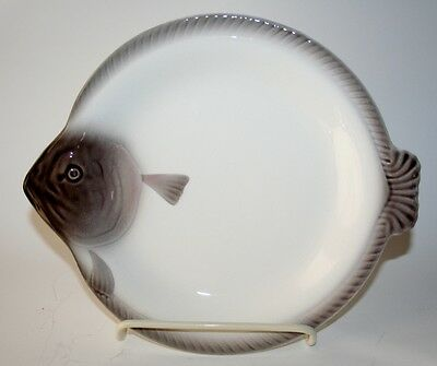 Large Vintage Waechtersbach Germany Gray FIGURAL FISH Plate. Signed.
