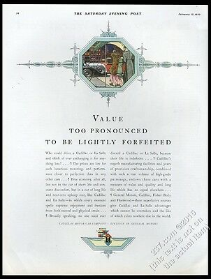 1930 Cadillac red town car formal people art vintage print ad