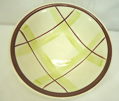 Mid Century Knowles Plaid Serving Bowl Chartreuse Green & Brown  Vintage