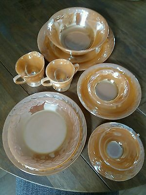 40 Piece American FIRE KING Peach Lustre Dinner Service & Serving Set.