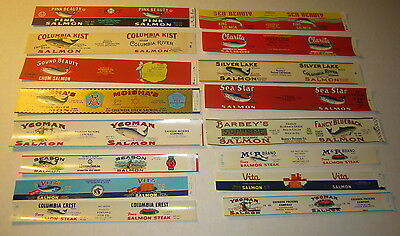 Lot of 16 Old Vintage SALMON Can LABELS - Oregon / Washington - FISH / Seafood