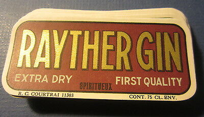 Wholesale Lot of 100 Old Vintage - RAYTHER GIN - European Liquor Labels