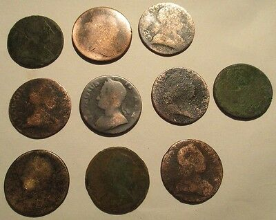 10 Old Colonial Coppers Half Penny Pennies Very Rare Lot