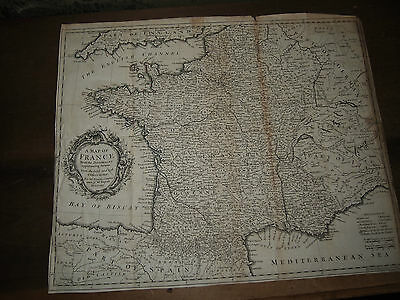 1745 A MAP OF FRANCE from TINDALS RAPIN HISTORY - Paris Bordeaux Calais Burgundy