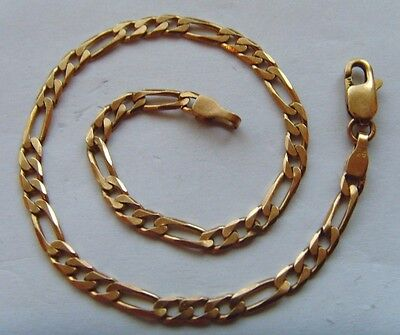9ct Gold Figaro Bracelet - 7.75 Inch Length - 3.3 Gram Weight