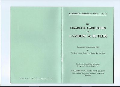 Cartophilic Reference Book No 9 Cigarette Card Issues Of Lambert & Butler