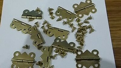 10 24x20mm EB STEEL MINIATURE SMALL DOOR HINGES & SCREWS DOLLHOUSE JEWELRY BOX