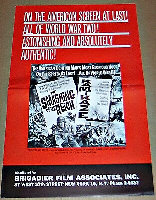 The Smashing Of The Reich & Kamikaze (1963) Wwii Documentary Orig Pressbook