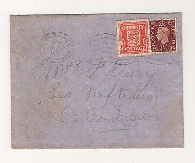 Guernsey German Occupation Cover Mixed Franking (Guernsey & Gb Stamps)