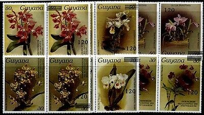 GUYANA Sc.# 1672, 1676-79, 1681, 168 Orchids Stamps Horz. Prs. 1 with 1 without