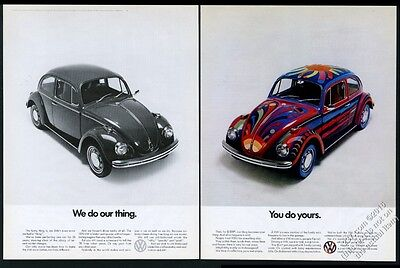 1970 VW Volkswagen Beetle classic car psychedelic paint job photo print ad