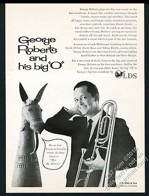 1963 George Roberts photo Olds bass trombone vintage print ad
