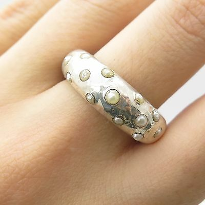 Signed 925 Sterling Silver Real Pearl Wide Hammered Modernist Ring Size 8