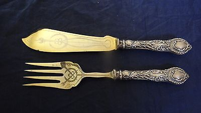 Very Fine Antique Imperial Russian Ornate 84 Silver Serving Spoon Knife Fish Set