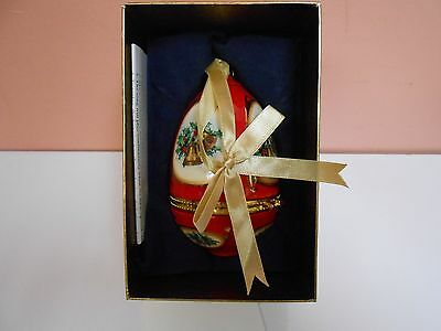 Valerie Parr Hill Musical Porcelain Egg Christmas Tree Ornament Red Hand Crafted