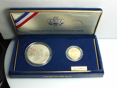 1987 Constitution Coins U.S Mint Gold and Silver Proof Set $5 Dollar W $1 Silver
