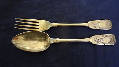 Fine Antique Imperial Russian Engraved 84 Silver Serving Spoon Fork Set S.Levin