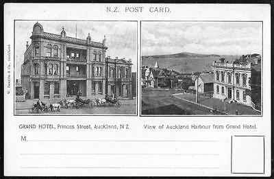 PPC pc New Zealand = GRAND HOTEL PRINCES ST.& VIEW OF AUCKLAND HARBOUR
