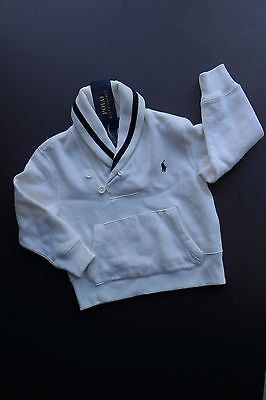 NEW NWT POLO RALPH LAUREN Ecru Off-White & Navy Blue Pullover Sweater Boys 2T