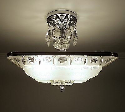 Antique 1930s VTG Art Deco Glass Ceiling Light Fixture Chandelier Satin Crystal