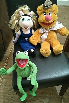 "Set Of 3 Jim Henson The Muppets 16""plush Soft Toys Kermit Miss Piggy Fozzy Bear"