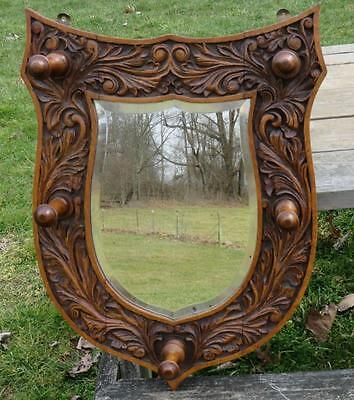 Antique Carved Oak Beveled Glass Shield Mirror Hat Rack